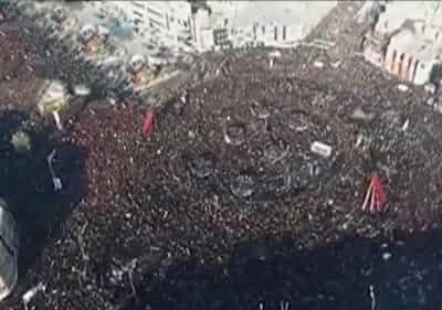 تصاویر هوایی از مراسم تشییع پیکر سردار سلیمانی در کرمان