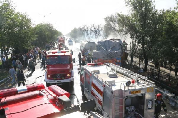حریق تانکر حمل سوخت در اصفهان/ یک نفر کشته شد